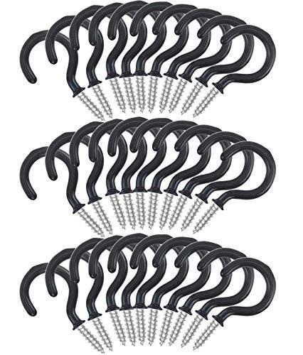Ganchos Techo de Taza Gancho Colgador de Tornillo de Copa para Uso en Interiores y al Aire Libre, 30 Piezas (Negro)