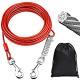 50ft Dog Tie Out Cable with Shock Absorbing Spring and Metal Swivel Hooks for Camping Park Yard Garden Traning Leash for Medium to Large Dogs Up to 250lbs (Red)