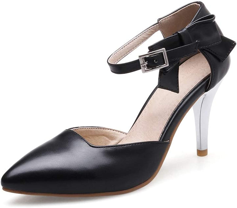 MENGLTX High Heels Sandalen Hochwertige Pu Spitz Pumpe Frauen Schuhe Einfache Schnalle Einfarbig Party Schuhe Sommer Dünne High Heels Schuhe