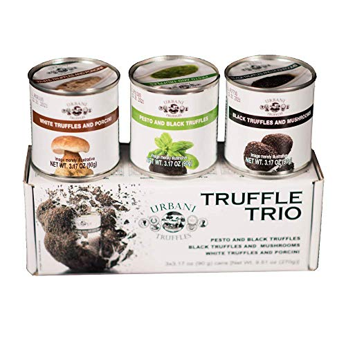 Truffle Sauce Thrills TRIO: Black Truffles and Mushrooms, Porcini and Truffles, Pesto and Black Truffles. 3.17oz Each.