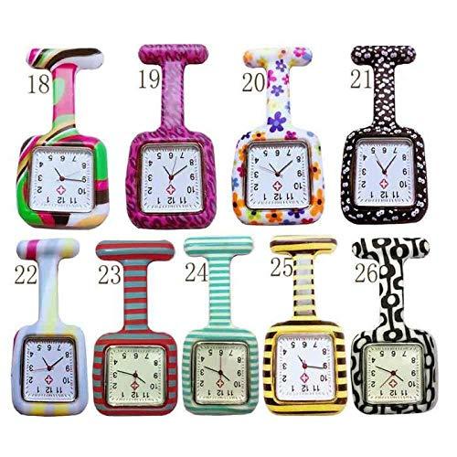 CAIDAI&YL Relojes de silicona para enfermera, esfera cuadrada, reloj de enfermera, broche de reloj de cuarzo, color marfil