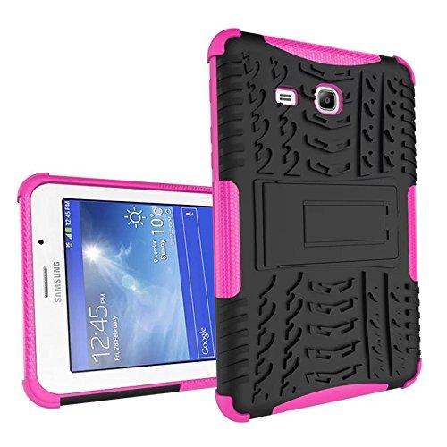 Galaxy Tab 3 Lite 7 Funda,Samsung Tab3 Lite 7.0 Protección,XITODA Hybrid PC + TPU silicone Funda con stand para Samsung Galaxy Tab 3 Lite 7.0 SM-T110/T111/T113/T116 Cover Case Carcasa - Rosa caliente