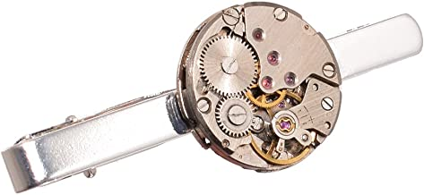 GRACEART Steampunk Corbata Clip Reloj Movimiento Corbata Acortar Solapa Alfiler