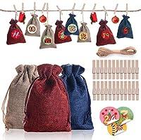 PEPAXON クリスマス巾着ギフトバッグセット クリスマスカウントダウンカレンダーアドベント 掛かるカレンダーのギフト袋 24枚 ジュートツインクリップ付きステッカー