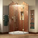 DreamLine Prism Plus 36 in. x 74 3/4 in. Frameless Neo-Angle Shower Enclosure in Brushed Nickel with White Base, DL-6060-04