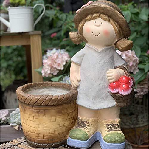 ZfgG Ornements de Jardin Petite Fille de Pot de Fleur Figurine étanche Statue Résine Jardin Yard Pelouse Décoration Cadeau - 36 * 20 * 46cm