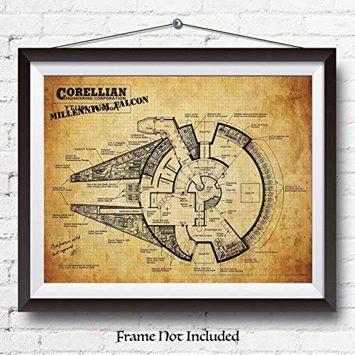 Original Star Wars Millennium Falcon Patent Poster Print - 11x14 Unframed - Wall Decor for Home, Office, Garage, Man Cave, College Dorm Room - Great Christmas Gift Under $10 For Star Wars Fans