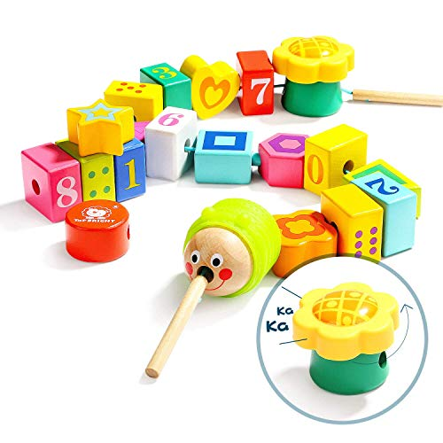 TOP BRIGHT Wooden Lacing Beads for Toddlers, Fine Motor Skills Montessori Toys, Preschool Learning Toys for 2 Year Old Boys and Girl Kid Gifts