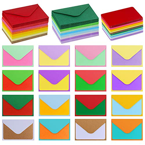 Supla 160 Sets Colorful Mini Envelopes with Blank Business Cards 16 Colors Small Notecards Quick Thank You Note Lunchbox Note Gift Note Cards Tiny Love Notes Envelopes Bulk Mini Stationery Set