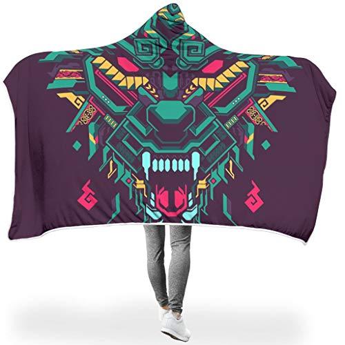 O5KFD&8 Fledermausdecke Wolf Muster Gedruckt Fleece Super Warm Wrap Robe - Wolf Übergröße Verwenden White 130x150cm