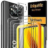 [3+2 Stück] UnqiueMe Schutzfolie für Xiaomi Poco X3 NFC/Poco X3 Pro 3 Stück Panzerglas & 2 Stück Kamera Schutzglas, [Anti- Kratzer][9H Festigkeit] Folie HD Klar Gehärtetes Glas Bildschirmschutz
