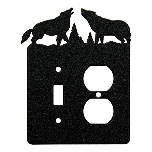 Howling Wolves gle Light Switch & Single Duplex Wall Plate (Single Toggle with Power, Black)