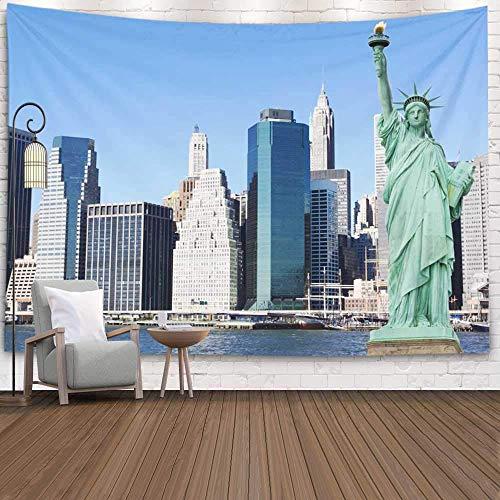 College Dorm Room Decor, Wall Art Living Room Bedroom Tapestry Skyline Statue Liberty New York City Dinning Room Wall Decor Cool Dorm Room Decor