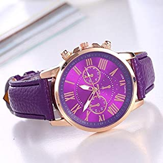 Perfect Home Creative Women and Men Fashion Quartz Watches Leather Sports Casual Watch Fashion (Color : Purple)