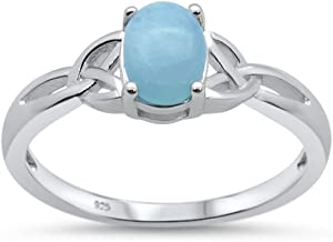 Oxford Diamond Co Sterling Silver Natural Oval Larimar Ring Sizes 5-10