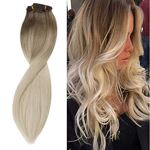 Sunny 20 Pouces Clip Extension Cheveux Blond Balayage Brun Clair mixte Blond Platine Extension Cheveux Naturel a Clip Ombre 100% Vrai Cheveux Humain 7pcs/120g