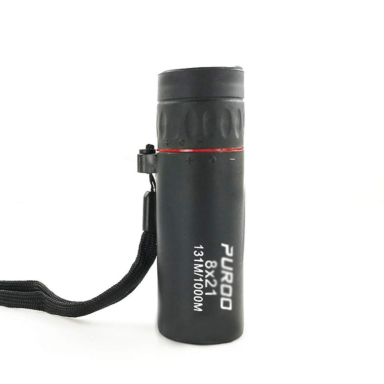 起こるネクタイサークル単眼鏡ミニナイトビジョンゴーグルポータブル旅行ミラー8×21高精細望遠鏡子供大人の単眼鏡、ミラー布とキャリングケース付き (Color : BLACK, Size : 8.7*2.8CM)