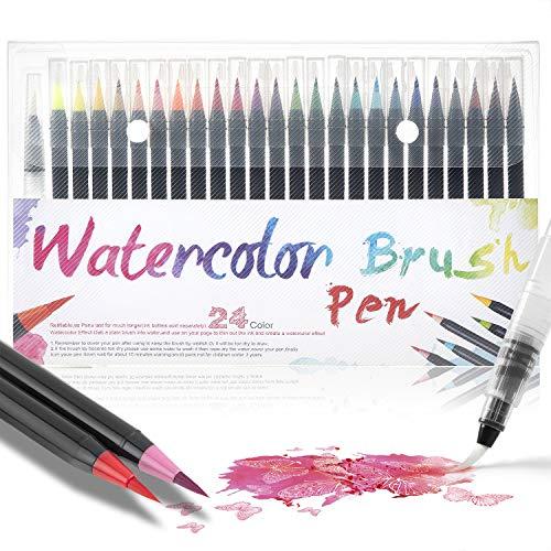 Wodasi Watercolor Brush Pens Set, 24 Stylo Aquarelle + 1 Aqua Brush, Feutres Pinceaux Couleurs pour Coloriage Adulte, Dessiner, Bullet Journal, Calligraphie, Manga