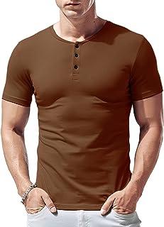 Hombres De Manga Corta Camiseta Henley Robusta Ajustado Algodón con 3 Botones,Muestra Tu Cuerpo