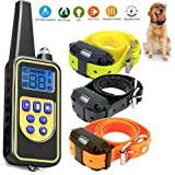 PiggiesC Dog Shock Collar with Remote Waterproof Electric for Large 880 Yard Pet Training (1 Remote with 3 Receiver)