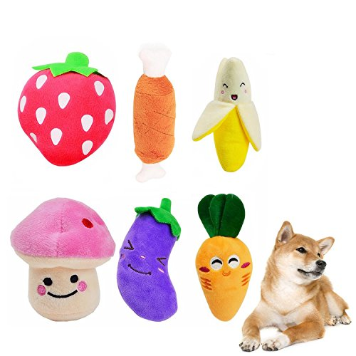 Emwel - Juguetes para perros pequeños, juguetes chirriantes para mascotas, juguete chirriante, 6 piezas, juguetes de felpa para perros pequeños y medianos