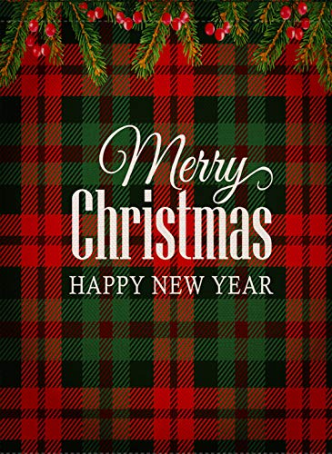 Dyrenson Home Decorative Merry Christmas Garden Flag Buffalo Plaid, Xmas Quote House Yard Flag Ornament, Tartan Checkered Winter Garden Yard Decorations, New Year Seasonal Outdoor Flag 12 x 18 Holiday