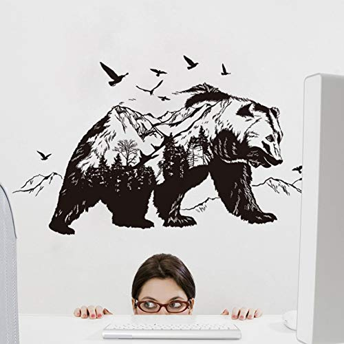 Qingyu Wandstickers, zelfklevend, creatief, voor woonkamer, slaapkamer, transparante beer uit de berg, creatieve stickers, muurstickers
