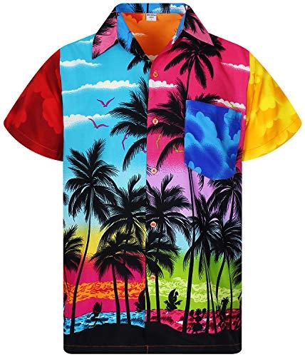 V.H.O. Funky Hawaiian Shirt, Shortsleeve, Mondy Beach, Multicoloured, 4XL