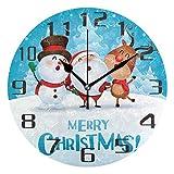 Kncsru Feliz Navidad muñeco de Nieve Santa Reloj de Pared silencioso sin tictac 9,8 Pulgadas Reloj R...