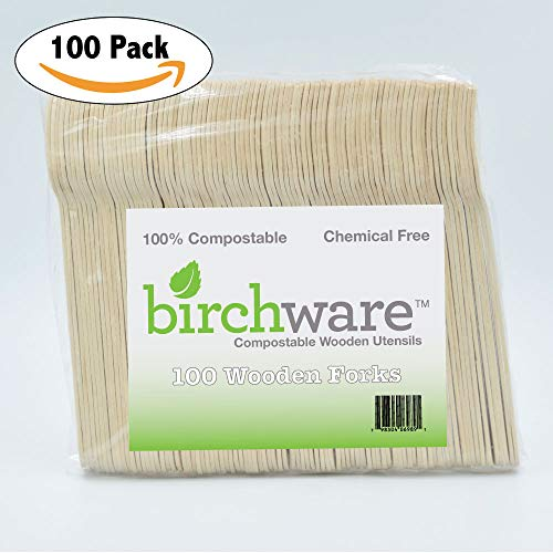 """Birchware Classic 6.5"""" - Compostable Wooden Forks, Biodegradable Party Supplies for Any Graduation, Luau, Fiesta, Tea Party, and More, Craft Supplies for Kids and Adults - (100 Forks)"""