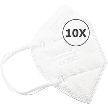 TBOC Mascarillas FFP2 - [Pack 10 Unidades] Máscaras Desechables [Color Blanco] 5 Capas [No Reutilizables] Transpirables Plegables con Pinza Nasal [Certificadas y Homologadas CE 2163]