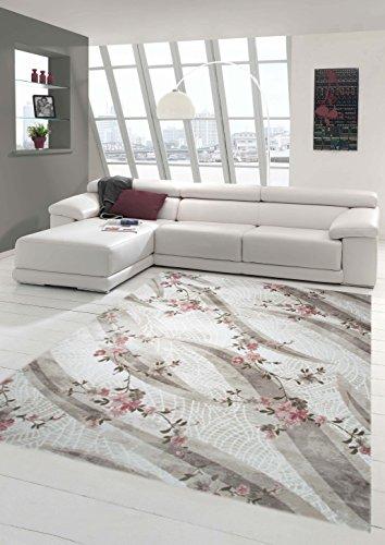 Designer Teppich Moderner Teppich Wollteppich Wohnzimmerteppich Wollteppich mit Blumenmuster Creme...