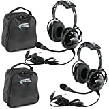 Rugged Air RA200 General Aviation Pilot Headset Features Noise Reduction, GA Dual Plugs, MP3 Music Input and Includes Headset Bag (2 Pack)