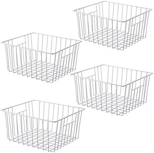 SANNO Aufbewahrungskorb 26cm x 28cm x14 4er Set, Kühlschrank Organizer, aus Eisen mit Plastikschutzschicht, Weiss, mit eingebautem Griff