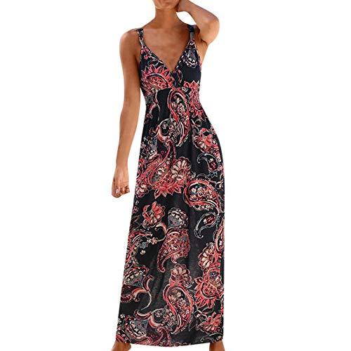 Lenfeshing Vestido sin Mangas con Estampado de Flores Casual para Mujer Vestido Largo Y Ajustado de Playa
