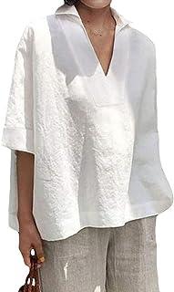 169721 in Wollweiß 44 Damen Bluse mit asymmetrischem Saum