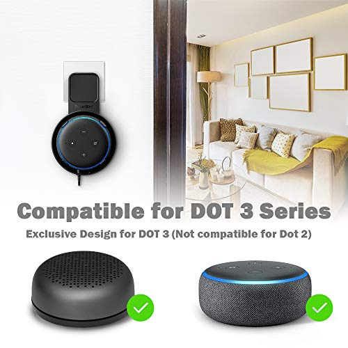Wall Mount for Dot 3rd Generation & Smart Speakers, Enhanced Sound Quality, Cable Management without Screws, Dot Stand Holder Accessories Designed for Kitchen, Bedroom, Bathroom