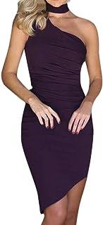 bd405cabcd9274 Oksea Sexy Elgant Neckholder Abendkleider Unregelmäßig eng anliegend Sexy  ärmellos Clubwear Kleid Sommer Frauen eine Schulter