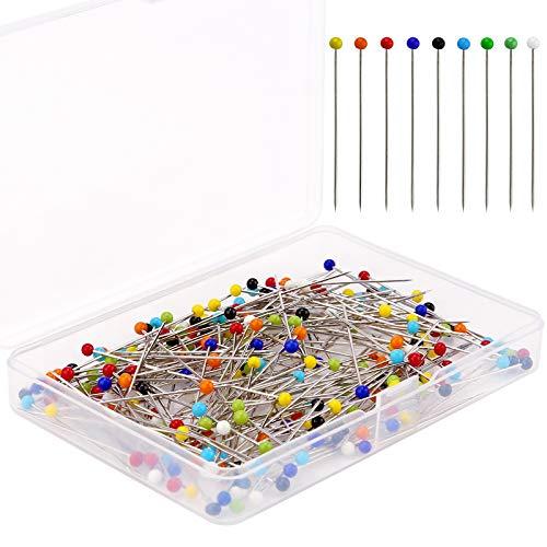 AIEX 200 Stück 38mm Nähstifte Glaskugel Stecknadeln mit Kopfstecknadeln für Schmuck Making, Nähen und Handwerk, Edelstahl