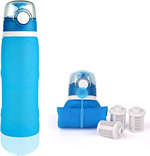 Medical Silicone Sports Water Bottle + Activated Carbon Filter Outdoor Sports Water Bottle 500ML Large Capacity 7.5x24.9 CM