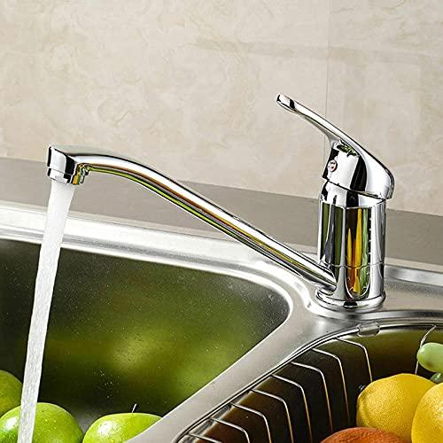 WYDM Grifo para Lavabo de baño Grifo Mezclador Cromado de construcción de latón Macizo para Cocina Caño Giratorio Moderno con Accesorios estándar del Reino Unido