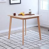 Livinia Canberra Dining Table, Solid Wooden Coffee Breakfast Table for 2-Person, Mid Century Modern Square Home Office Leisure Desk for Living Kitchen Room Apartment (Natural)