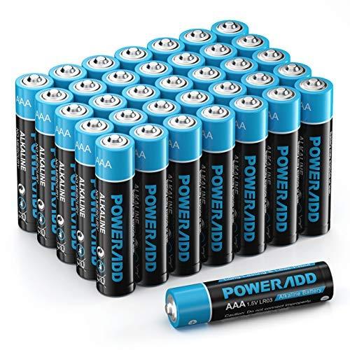 Poweradd Pilas Alcalinas AAA Baterías LR03 de 10 Años Larga Duración para Linternas, Relojes, Mandos a Distancia, Juguetes-36 Unidades de 1.5V