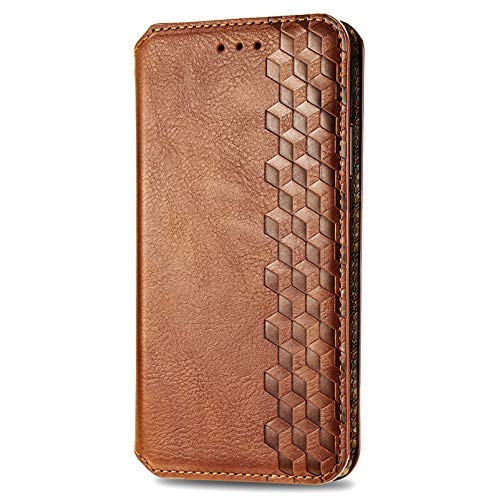 BOWFU Premium Leather Case for LG K92 5G, Flip Cover with [Magnetic Closure] [Card Slots] [Horizontal Viewing Stand] [Durable Frame] Folio Case-Brown