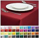 Rollmayer Tischdecke Tischtuch Tischläufer Tischwäsche Gastronomie Kollektion Vivid (Weinrot 13, 80x80cm) Uni einfarbig pflegeleicht waschbar 40 Farben