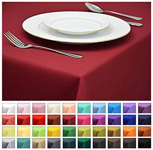 Rollmayer Tischdecke Tischtuch Tischläufer Tischwäsche Gastronomie Kollektion Vivid (Weinrot 13, 120x160cm) Uni einfarbig pflegeleicht waschbar 40 Farben