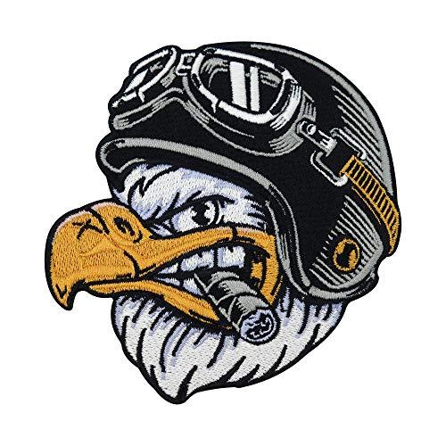 Finally Home Biker Adler mit Zigarre Patch zum Aufbügeln für Lederwesten | Motorrad Kutten Patches, Amerika Usa Bügelflicken, Weste Flicken, Motorcycle Aufnäher für Männer