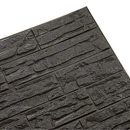 3D-Stein Hintergrund, DIY Abnehmbare Schälen und Kleben PE-Schaum Wandaufkleber, Schallschutz Tapete für Wohnzimmer, Schlafzimmer, Bar, TV Wand (Grau, 12 PCS)
