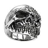 Piersando Herren Ring Edelstahl Biker Totenkopf mit 2 Gesichter Männer Herrenring 27mm Breit Silber Größe 67 (21.3)