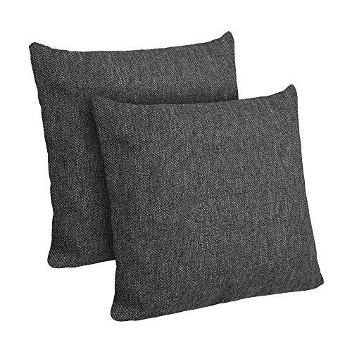 Selfitex 2er Set Kissenbezug, Dekokissen, Kissenhüllen ohne Füllung, Komfort-Polsterstoff mit Reißverschluss, für Sofa Couch Wohnzimmer, Kopfkissenbezug im Doppelpack (2X 40 x 40 cm, Anthrazit)